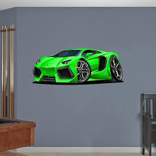 Amazon Com 48 Lamborghini Aventador Green Wall Decal Cartoon Car 3d Sticker Mural Kids Room Sports Den Man Cave Boys Home Kitchen