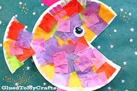 Paper Plate & Tissue Paper Tropical Fish - Kid Craft