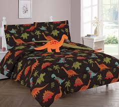 Amazon Com Wpm Dinosaur Brown Print Bedding Set Choose From Full Twin Comforter Or Bed Sheets Or Window Curtains Panels For Kids Girls Boys Room Twin Comforter Set Home Kitchen