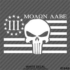Skull When Guns Are Outlawed I Will Be An Outlaw Molon Labe 2a 3 Vinyl Decal