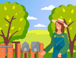 Happy Smiling Woman Wearing Garden Uniform And Hat Standing Near Fence With Gardening Tools On It Agricultural Concept Portrait Of Young Gardener In The Garden Vector Cartoon Style Illustration Premium Vector