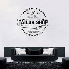 Tailor Shop Custom Personalized Vinyl Wall Sticker Sewing Studio Decor Window Decal Removable Art Mural Hj337 Wall Stickers Aliexpress
