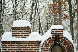 winter red brick fireplace oven
