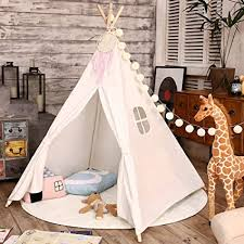 Amazon Com Love Tree Teepee Tent For Kids Indian Children Play Tent Fort Cotton Canvas Canopy Portable Playhouse For Indoor Outdoor With Carry Bag White Toys Games