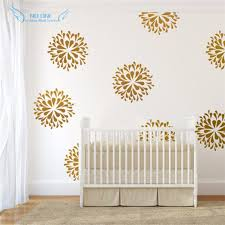Gold Flowers Wall Decals Vinyl Sticker Kids Bedroom Wall Art Decor Kids Wall Sticker Baby Nursery Room Wall Mural Design Designer Wall Stickers Kids Wall Stickerswall Sticker Aliexpress