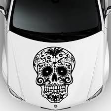 Amazon Com Car Decal Hood Sticker Vinyl Design Crazy Sugar Skull Sticker Graphics Emo Goth Gothic Metal Gift M712c Home Kitchen