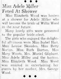 MILLER Adele (Wood) - 1937.05.29 bridal shower - Newspapers.com