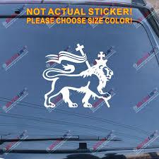 Amazon Com Lion Of Judah Rasta Rastafari Flag Decal Sticker Car Vinyl Jamaica Ethiopia B White 4 10 2cm Arts Crafts Sewing