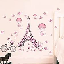 Byron Hoyle Girl Name Wall Decal Eiffel Tower Vinyl Stickers Mural Paris Silhouette Personalized Baby Girl Name Decor Bedroom Nursery Girls Room Zx296 Wall Stickers Murals