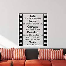 Wall Decal Quote Life Is Like A Camera Focus On What S Important Capture The Good Times Wall Decals Quotes Motivation Vinyl Lettering Q136 Amazon Com