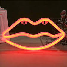 Qunlight Neon Night Light Lip Shaped With Red Lamp Usb Battery Powered Hanging Wedding Sign Novelty Wall Decor Birthday Party Kids Room Living Room Bedroom Or Bar Red Lip Amazon Com