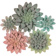 succulent cer metal wall decor