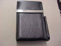 black leather flip top cigarette case