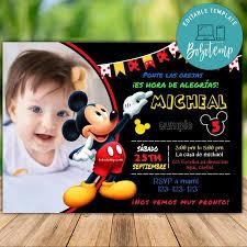 Invitaciones De Cumpleanos De Mickey Mouse Editables Con Foto Diy
