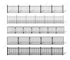 Various Simple Metal Wrought Iron Or Steel Fence Silhouettes Royalty Free Cliparts Vectors And Stock Illustration Image 96969269