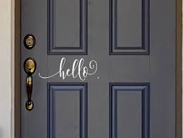 Amazon Com White Hello Vinyl Front Door Decal Hello Vinyl Decal For The Home Or Business 13 3 W X 5 H Home Kitchen