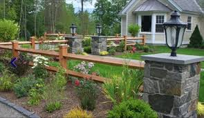 Stone Pillars And Split Rail Fencing Enhance The Rustic Setting Description From Pinterest Com I Sear Fence Landscaping Driveway Landscaping Split Rail Fence