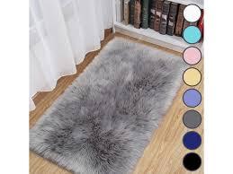 Luxury Fluffy Area Rugs Furry Rug For Bedroom Faux Fur Sheepskin Nursery Rugs Fur Carpet For Kids Room Living Room Home Decor Floor Mat 2ft X 4ft Grey Newegg Com