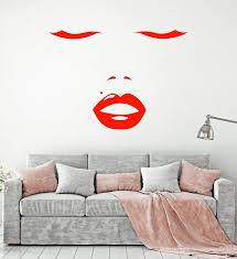 Vinyl Wall Decal Beautiful Girl Face Sexy Lips Makeup Artist Stickers Wallstickers4you