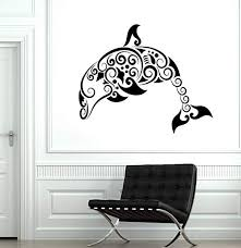 Amazon Com Wall Decal Dolphin Ocean Marine Sea Ornament Tribal Mural Vinyl Decal And Stick Wall Decals Home Kitchen