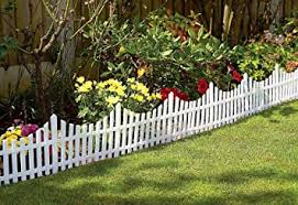 Great Ideas Set Of 4 Mini White Garden Picket Fence Panels Wood Effect Plastic Lawn Edging For Plant Borders And Flowerbeds Amazon Co Uk Diy Tools