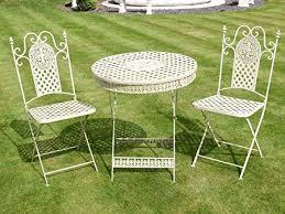 cream wrought iron metal garden table