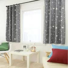 Stars Print Gray Curtain Kids Curtains 100 Cotton Drapery Panel 1pair For Living Room And Bedroom Grey Curtains Kids Curtains Curtains