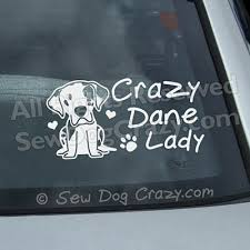 Crazy Great Dane Lady Decal Sew Dog Crazy