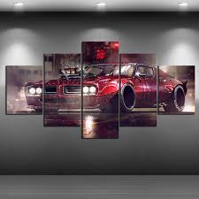 Hd Print Vehicle American Muscle Car Pontiac Gto Retro Sport Car Canvas Painting Digital Art For Wall Home Decor Painting Calligraphy Aliexpress