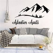 Adventures Awaits Wall Decals Vinyl Mountain Travel Wall Art Sticker For Living Room Bedroom Nordic Decoration Wl1160 Wall Stickers Aliexpress