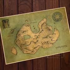 Map Of Mysterious Island Neverland Classic Vintage Retro Kraft Decorative Diy Poster Maps Wall Canvas Sticker Home Bar Posters Stickers Fiat Stickers Stickerbar Mats For Sale Aliexpress