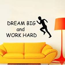 Shop Quotes Runner Dream Big Work Hard Gym Wall Decor Home Decor Mural Art Boy Decal Sticker Decal Size 33x52 Color Black Overstock 14298467