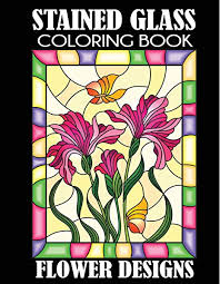 stained glass coloring book flower
