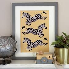 The Jumping Zebras Print Kids Room Decor Playroom Nursery Etsy