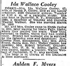 Ida Wallace Cooley obituary - Newspapers.com