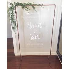 Custom Acrylic Welcome Sign With White Vinyl Decals Designed By Bridge Co Featuring A Copper Stand Made By A Custome Decal Design Acrylic Sign Welcome Sign