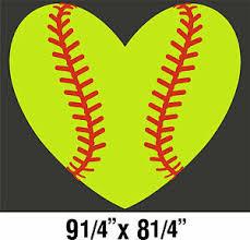 Softball Sticker Heart Cute Yellow 9 25x8 25 Cut Vinyl Decal Ebay