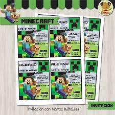 Minecraft Invitacion Textos Editables Invitaciones