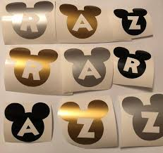 Disney Mickey Ears Initial Decal Vinyl Sticker Water Bottle Etsy