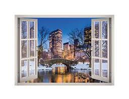 City Lights Christmas Snow Window 3d Wall Decal Art 3d Wall Decals Decal Wall Art 3d Wall