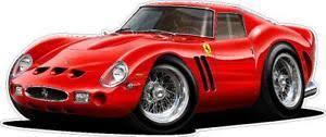 Exotic Cars 1962 Ferrari 250 Gto Wall Decal Graphic Mancave Art Sticker New Ebay