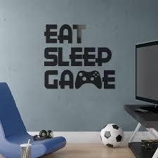 Ebern Designs Eat Sleep Game Computer Gaming Room Vinyl Wall Decal Reviews Wayfair