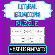 literal equations puzzle literal