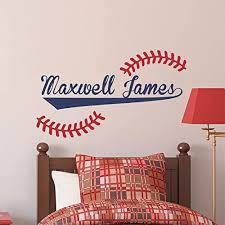 Amazon Com Baseball Name Wall Decal Custom Name Baseball Decal Boys Name Decal Personalized Name Baseball Wall Decal Nursery Decal Boys Room Decal Handmade