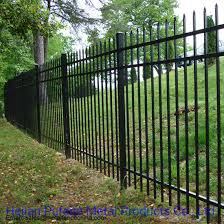 China Heavy Duty 5 Ft H X 8 Ft W Black Metal Garden Fence Panel China Wrought Iron Fence And Black Color Garrison Fencing Price