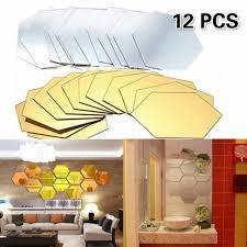 12pcs 3d Mirror Hexagon Vinyl Removable Wall Sticker Decal Home Decor Art Diy Wish