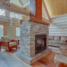 double sided cultured stone fireplace