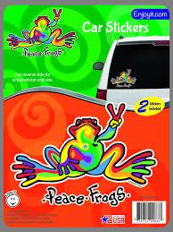 Multi Color Peace Frogs Car Sticker Enjoy It