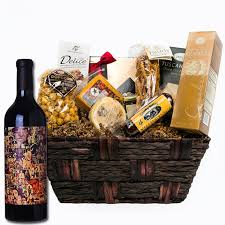 abstract red wine gift basket