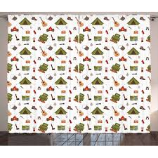 Camping Curtains 2 Panels Set Campfire Map Lantern Guitar And Compass Discovery In Woodland Boys Kids Cartoon Window Drapes For Living Room Bedroom 108w X 96l Inches Multicolor By Ambesonne Walmart Com